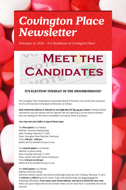 Covington Place Newsletter