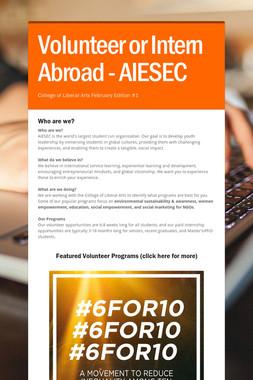 Volunteer or Intern Abroad - AIESEC