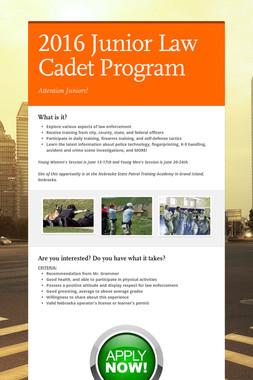 2016 Junior Law Cadet Program