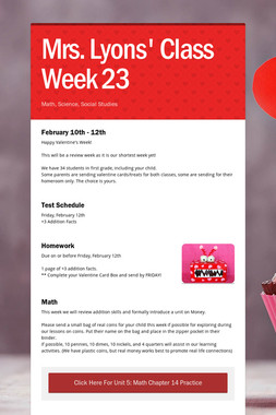 Mrs. Lyons' Class  Week 23