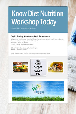 Know Diet Nutrition Workshop Today