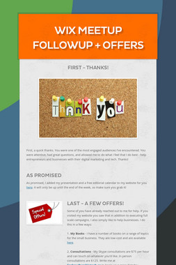 Wix Meetup Followup + Offers