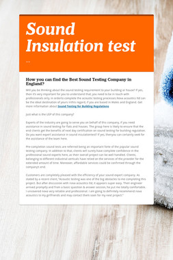 Sound Insulation test