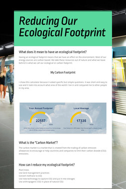 Reducing Our Ecological Footprint