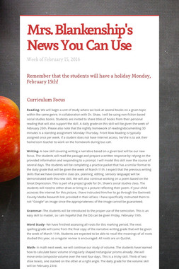 Mrs. Blankenship's News You Can Use