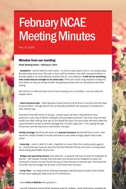 February NCAE Meeting Minutes