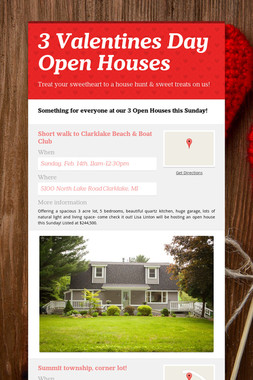 3 Valentines Day Open Houses