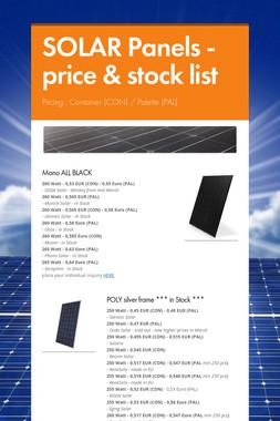 SOLAR Panels - price & stock list