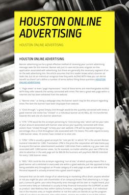 HOUSTON ONLINE ADVERTISING