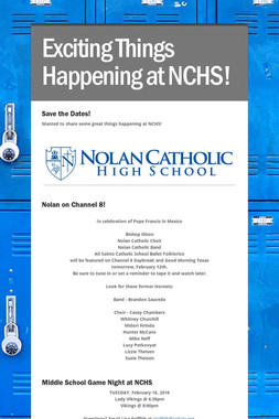 Exciting Things Happening at NCHS!