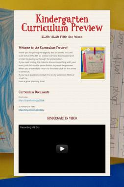 Kindergarten Curriculum Preview