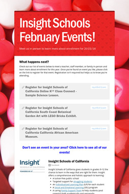 Insight Schools February Events!