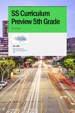 SS Curriculum Preview 5th Grade