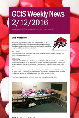 GCIS Weekly News 2/12/2016