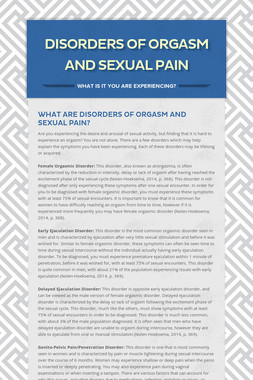 Disorders of Orgasm and Sexual Pain