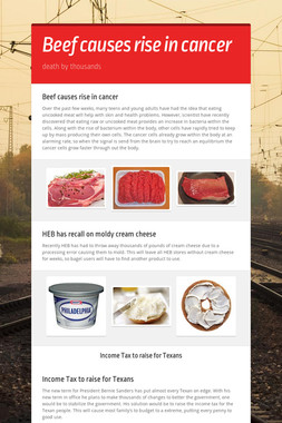 Beef causes rise in cancer