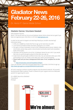 Gladiator News February 22-26, 2016