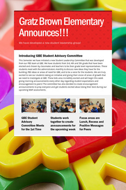 Gratz Brown Elementary Announces!!!
