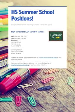 HS Summer School Positions!