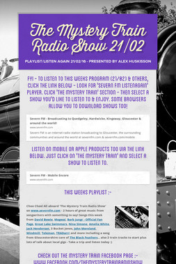 The Mystery Train Radio Show 21/02