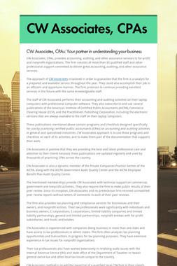 CW Associates, CPAs