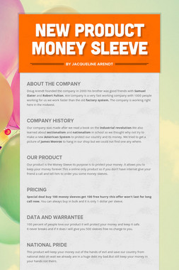 New Product Money Sleeve
