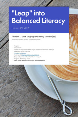 """Leap"" into Balanced Literacy"