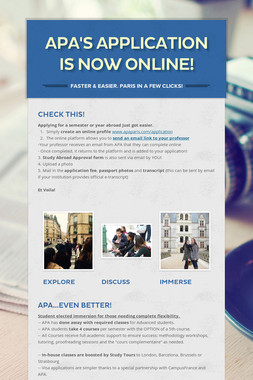 APA's APPLICATION IS NOW ONLINE!