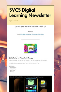 SVCS Digital Learning Newsletter
