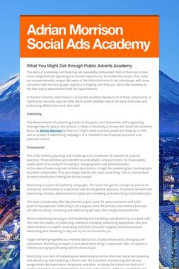 Adrian Morrison Social Ads Academy