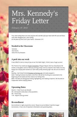 Mrs. Kennedy's Friday Letter