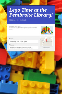 Lego Time at the Pembroke Library!