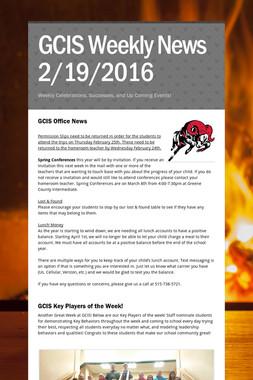 GCIS Weekly News 2/19/2016
