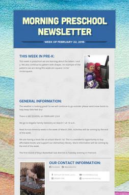 Morning Preschool Newsletter