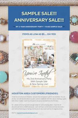 Sample Sale!!!  Anniversary Sale!!!