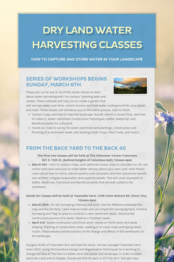 Dry Land Water Harvesting Classes