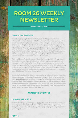 Room 26 Weekly Newsletter