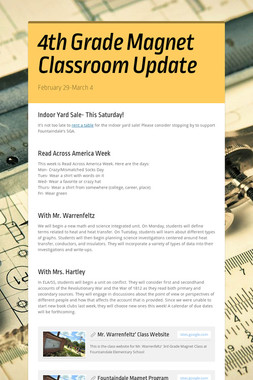 4th Grade Magnet Classroom Update