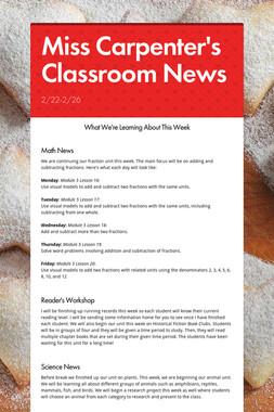 Miss Carpenter's Classroom News