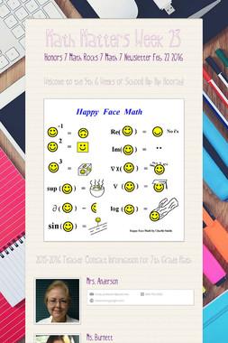 Math Matters Week 23