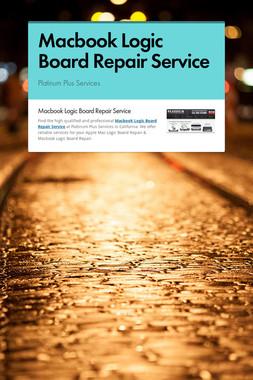Macbook Logic Board Repair Service