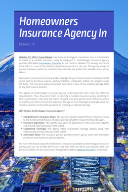 Homeowners Insurance Agency In