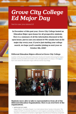 Grove City College Ed Major Day