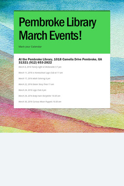 Pembroke Library March Events!