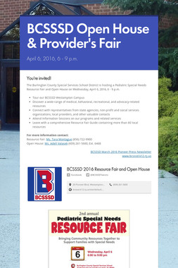 BCSSSD Open House & Provider's Fair