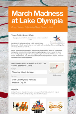 March Madness at Lake Olympia