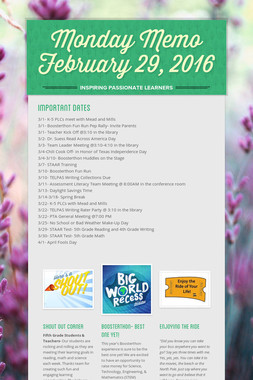 Monday Memo February 29, 2016