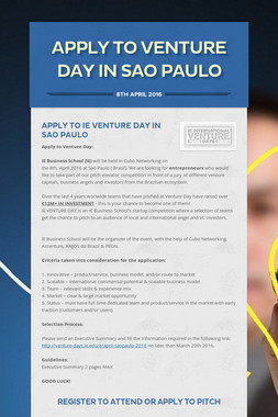 APPLY TO VENTURE DAY IN SAO PAULO