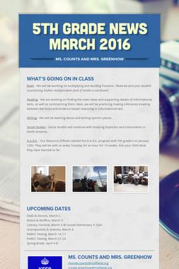 5th Grade News March 2016