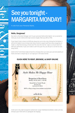 See you tonight - MARGARITA MONDAY!